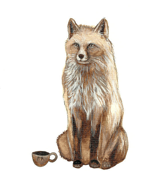 Greeting Card: Critters and Cups: Fox