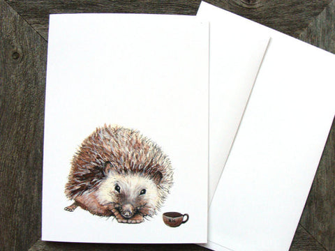 Critters and Cups: Hedgehog // Greeting Card // by Polanshek of the Hills