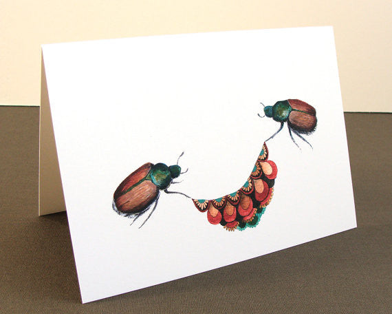 Quilted Bugs: Beetles - Greeting Card