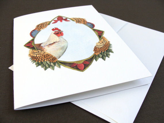 Quilted Portrait: The Chicken - Greeting Card