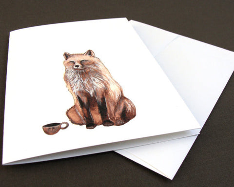 Critters and Cups: the Fox // Greeting Card // by Polanshek of the Hills