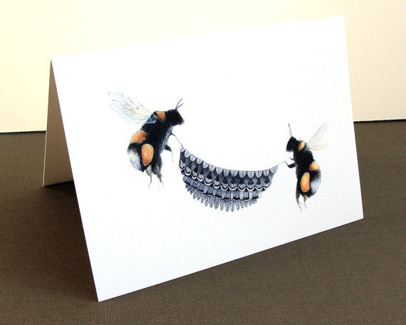 Quilted Bugs: Bumblebees - Greeting Card