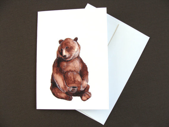 Critters and Cups: Bear - Greeting Card