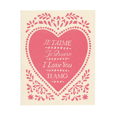 Handprinted letterpress Je T'aime Greeting Card