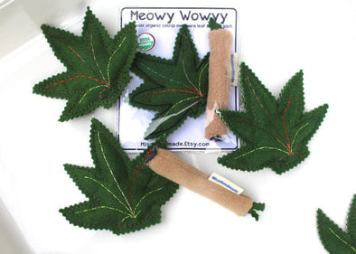 Catnip Cat Toy - Marijuana Leaf and Joint