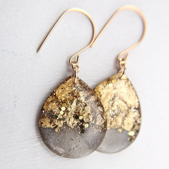 Charcoal and Gold Large Teardrop Earrings // by Tiny Galaxies