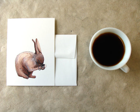 Critters and Cups: the Rabbit // Greeting Card // by Polanshek of the Hills