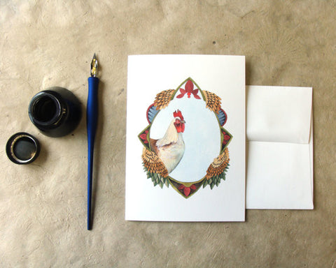 Quilted Portrait: The Chicken // Greeting Card // by Polanshek of the Hills