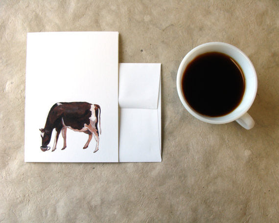 Critters and Cups: Cow - Greeting Card