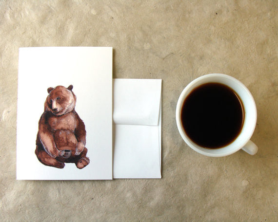 Greeting Card: Critters and Cups: Bear
