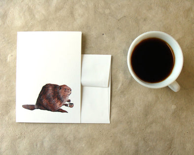 Greeting Card: Critters and Cups: Beaver