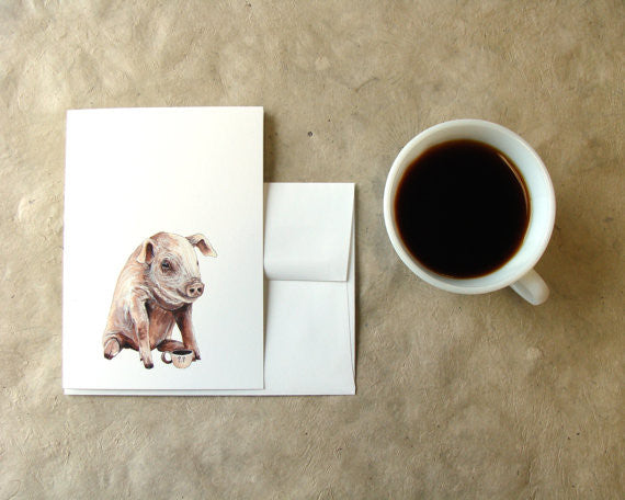 Critters and Cups: Pig - Greeting Card