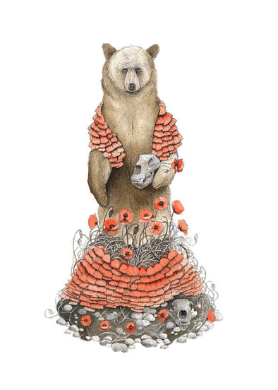 5x7 Art Print: Bear and Poppies