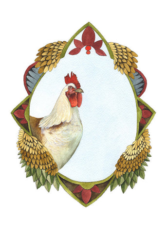 Quilted Portrait: the Chicken // 5x7 Art Print // by Polanshek of the Hills