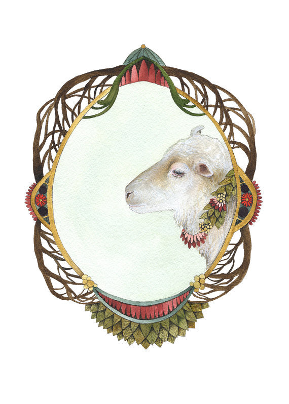 Quilted Portrait: Lamb // 5x7 Art Print // by Polanshek of the Hills