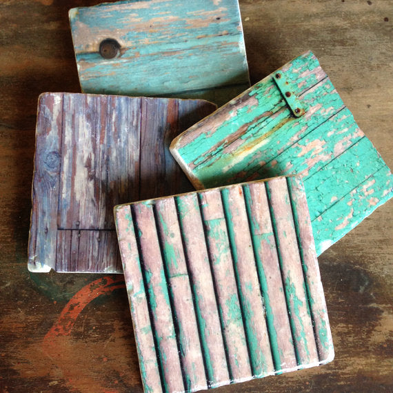 Chipping Paint Coasters // Set of 4
