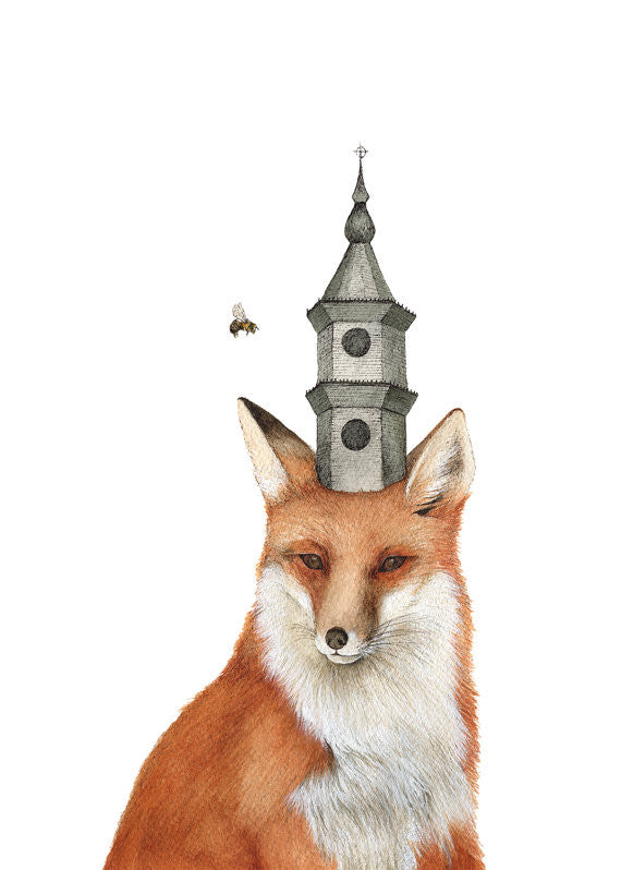 The Fox and the Tower - Art Print