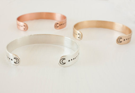 Copper Moon Phases Cuff Bracelet