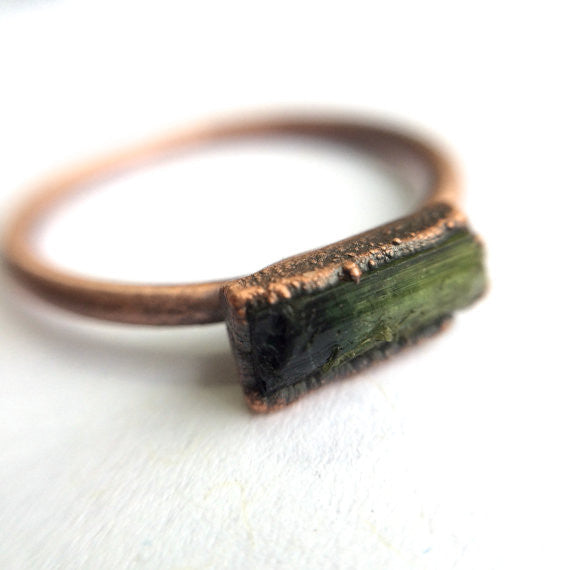 Green Tourmaline Copper Ring