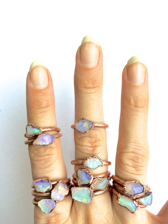 Raw Opal Ring (Large Stone)