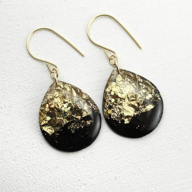 Large Black and Gold Leaf Teardrop Earrings // by Tiny Galaxies
