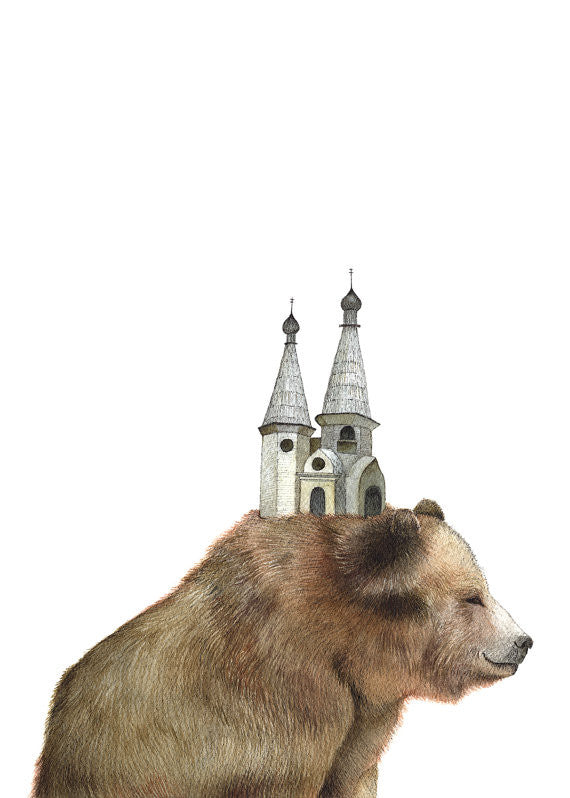 The Bear and the Tower - Art Print