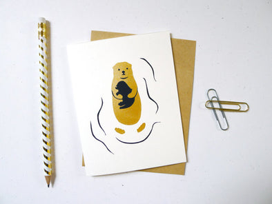 Otter Greeting Card in Gold