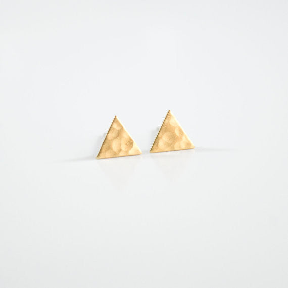 Hammered Brass Triangle Studs