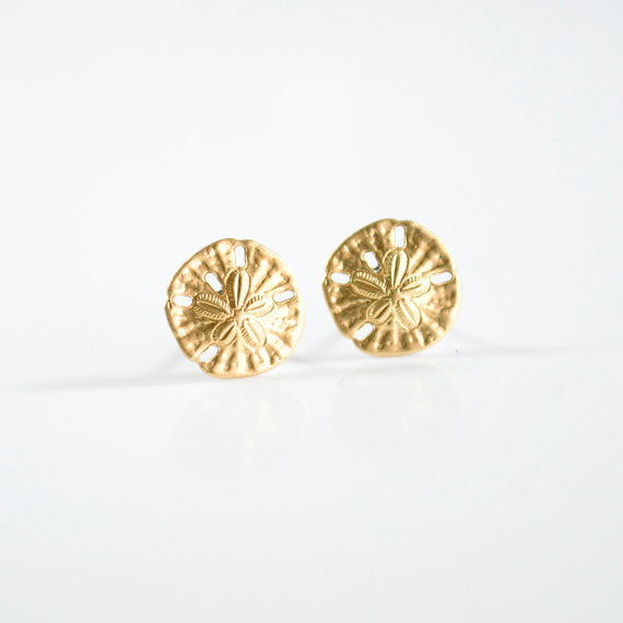 Brass Sand Dollar Earrings
