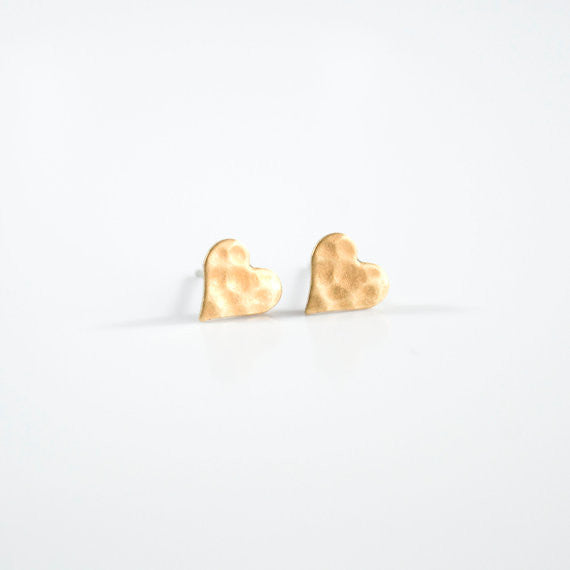 Hammered Brass Heart Studs