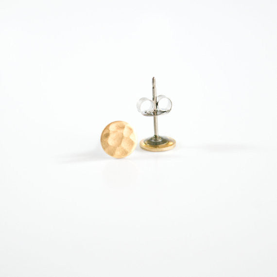 Hammered Brass Circle Studs