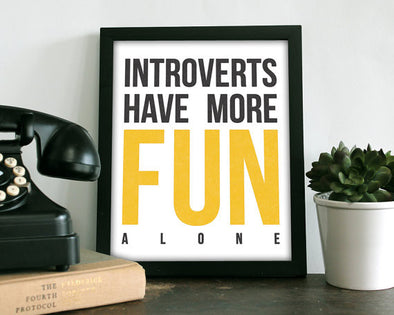 Introvert Art Print in Yellow 8X10