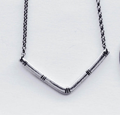 Carved V Sterling Silver Necklace // Jennifer Kahn Jewelry