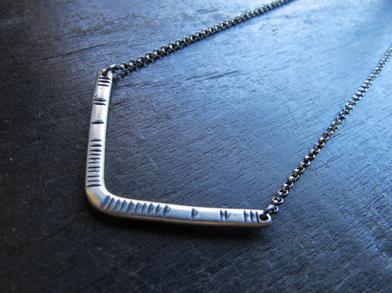 Carved V Sterling Silver Necklace
