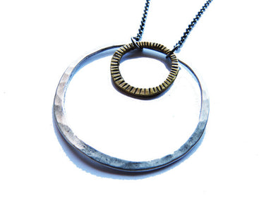 Mixed Brass and Sterling Circles Necklace