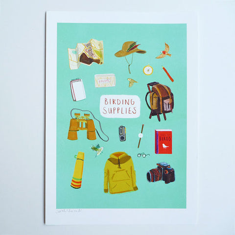 Birding supplies giclee print