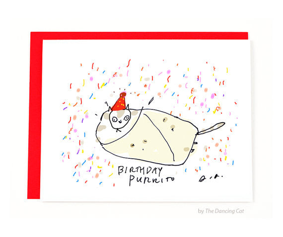 Birthday Purrito Greeting Card