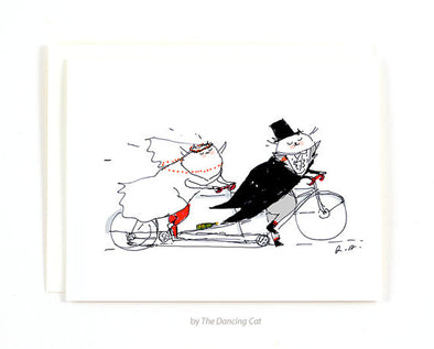 Wedding Cats on Tandem Bicycle Greeting Card