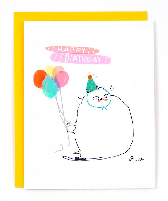 Birthday Cat Card Party Greeting Card