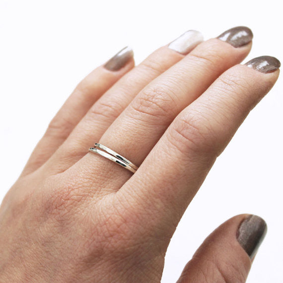 Hammered Stacking Ring - Sterling Silver*