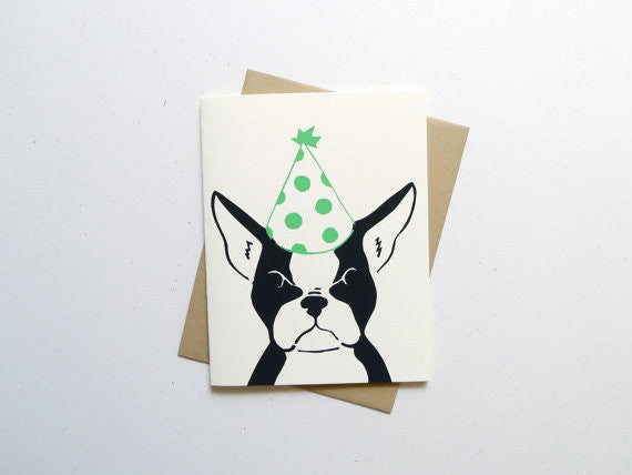 Birthday Boston Terrier Card // by Middle Dune