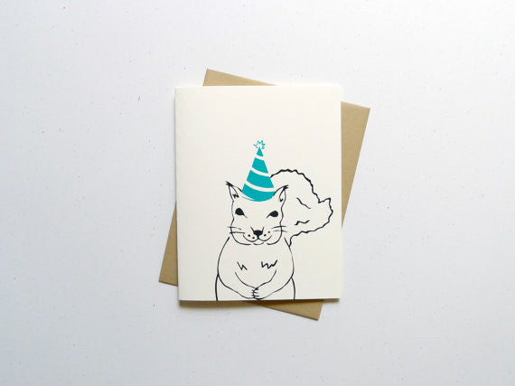 Birthday Hat Squirrel Card // by Middle Dune