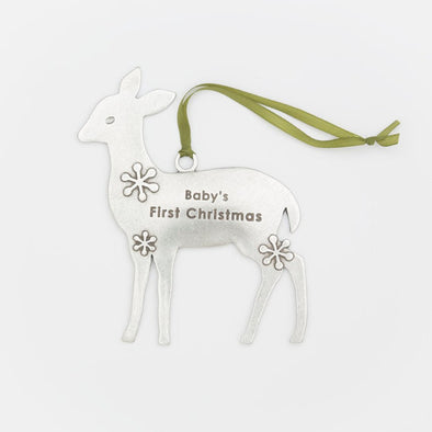 "Deer Ornament ""Baby's First Christmas"""