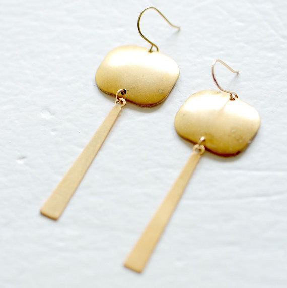 Long Brass Bar Chandlier Earrings
