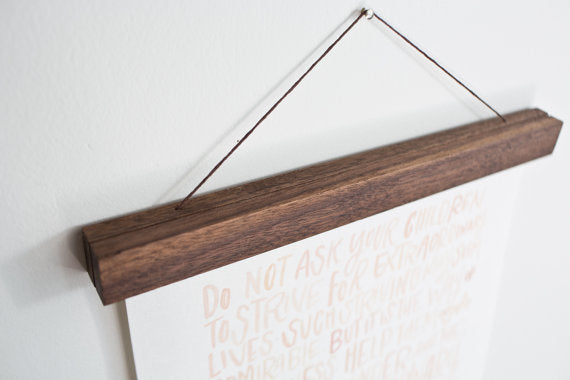 Wooden Poster Hanger - Walnut 12 inches