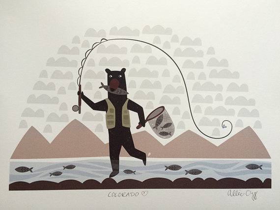 Fishing Bear Print 8.5X11