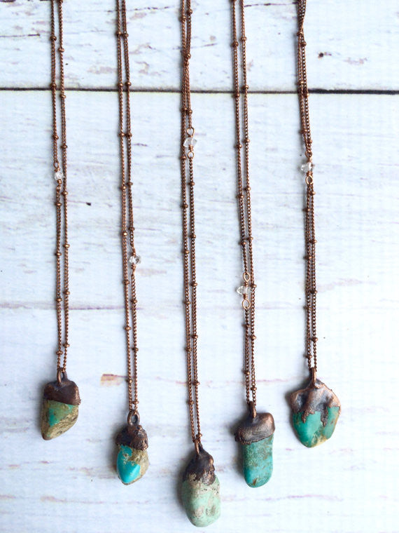 Raw turquoise Copper Necklace