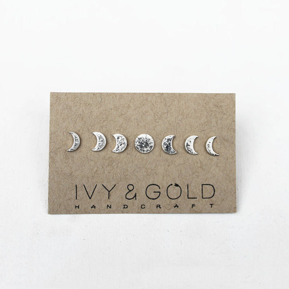Sterling Silver Phases of the Moon Stud Earring Collection*