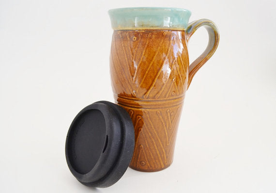 Ceramic Travel Mug with Lid and Handle- Brown and Green with Lines and Dots