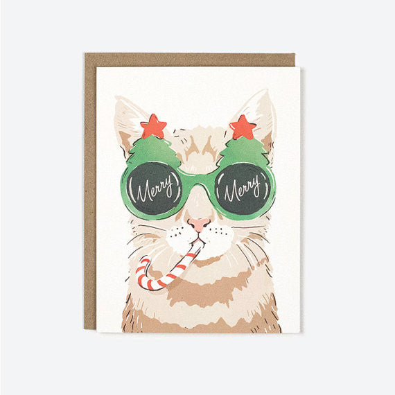 Merry Christmas Cat Holiday Greeting Card